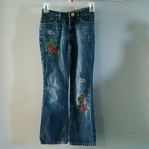 Limited Too girls' embroidered distressed 10 slim